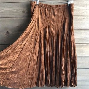 Coldwater Creek Midi Skirt Faux Chamois Boho New